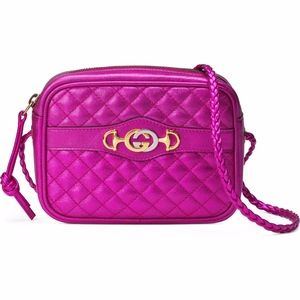 GUCCI Quilted Metallic Leather Camera Bag